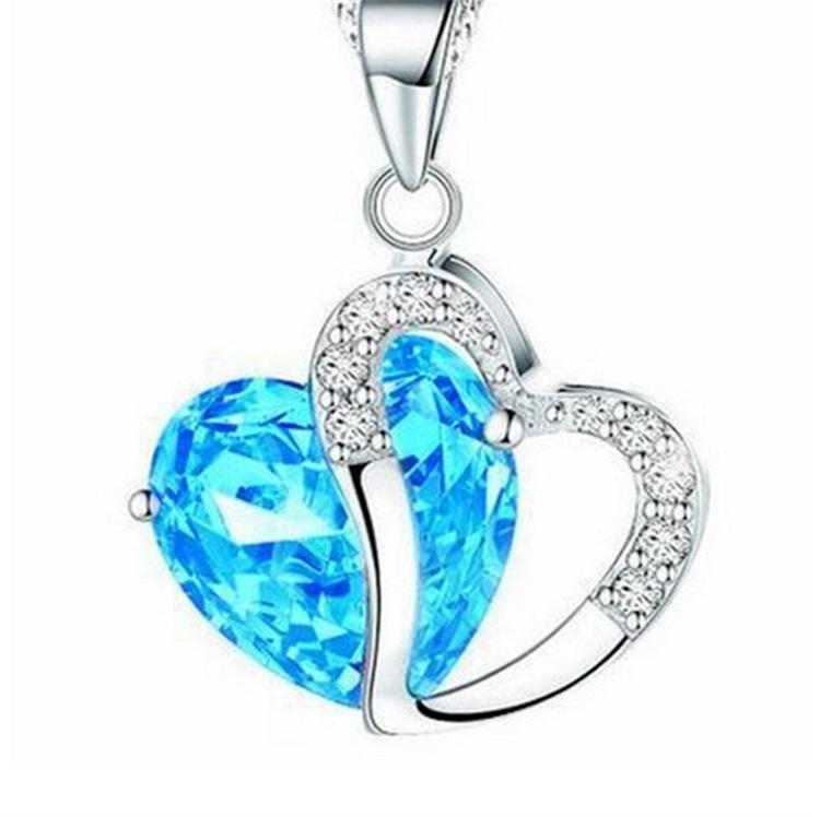 Ladies Heart Necklace - ocean blue