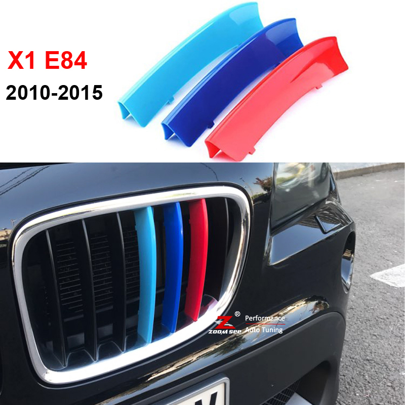 3D M Styling Front Grille Trim motorsport Strips grill Cover Decoration Stickers for 2009-2015 BMW X1 E84 недорого