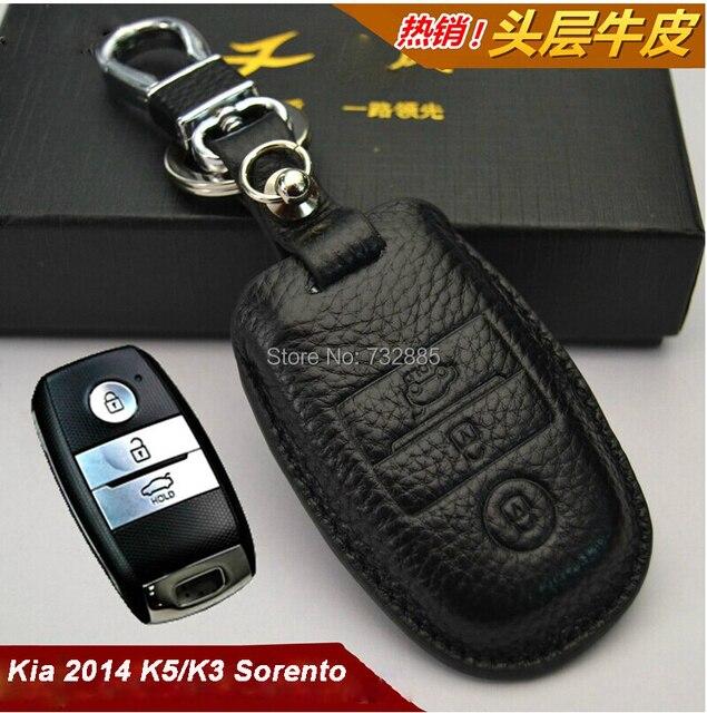 100% Натуральная Кожа Держатель Ключа Автомобиля Для Kia K3, 2014 Kia K5 Sorento Автозапуск Тип Чехол Для Ключей/Ключ Мешок