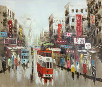 Hand Painted Canvas Knife Oil Painting Abstract Hong Kong Trams Street Painting Wall Picture For Home