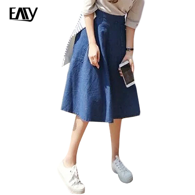 De las mujeres jeans denim falda de cintura alta faldas mujer moda denim rodilla-longitud a-line de la cintura elástico del todo-fósforo azul midi falda