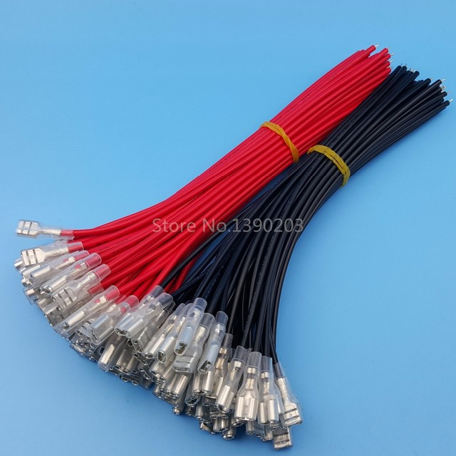 100Pcs/50Pairs 6.3mm Female Spade Crimp Terminals Wire Connector ...