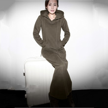 Free Shipping 2016 New Fashion Long-sleeve Dresses With A Hood One-piece Plus Size Customized Long Maxi XXXXXL 6XL Stretch Dress