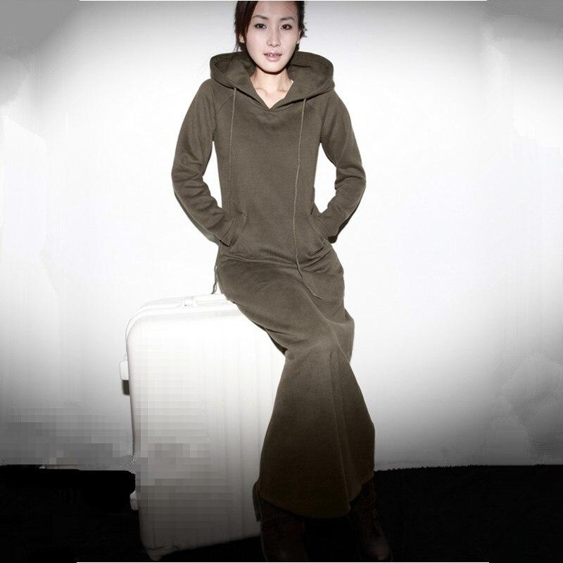 Безкоштовна доставка 2019 Нові модні сукні з довгими рукавами з капюшоном суцільна плюс розмір під замовлення Довге плаття Maxi XXXXXL 6XL