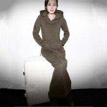 Freies Verschiffen 2019 Neue Mode Lange sleeve Kleider Mit Kapuze einteiliges Plus Größe Angepasst Lange Maxi XXXXXL 6XL Stretch Kleid