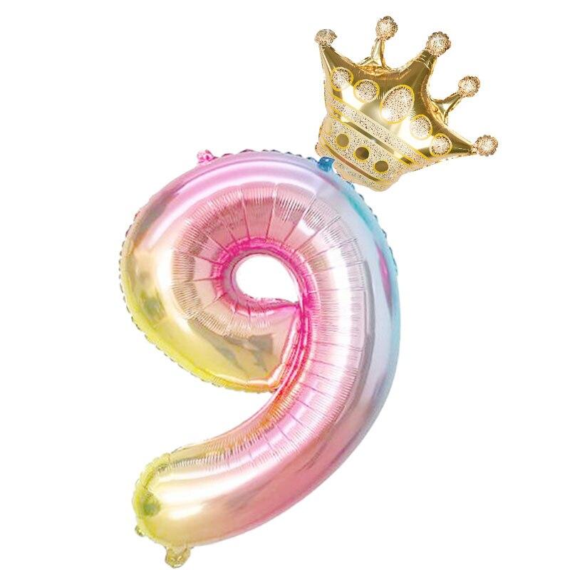 Фольгированные воздушные шары в виде цифр, радужные шары в форме цифр, 2 шт., 32 дюйма, украшение для дня рождения, цвета розового, золотого, розового, серебряного, синего цветов, 0-9 цифр-5