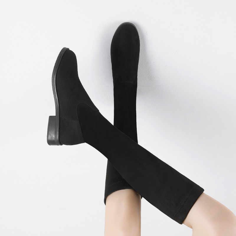 2019 moda kadın kış uyluk yüksek çizmeler süet deri katı kadınlar diz yüksek