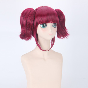 Image 3 - Morematch Black Butler Mey Rin Burgundy Synthetic Hair For FemaleS Party Cosplay Full Wigs With Chip Ponytails