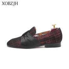 2019 Men New Dress Shoes Handmade Leisure Style Wedding Party Shoes Men Flats Leather Red Loafers Shoes Big Size Shoes piergitar brand new burgundy color velvet men handmade shoes party and wedding men tassel loafers plus size men s dress shoes