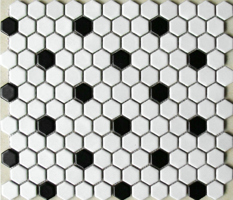 Classic White Mixed Black Hexagon Ceramic Mosaic Tiles Kitchen