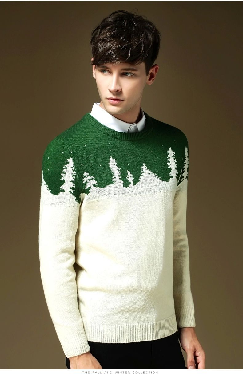 2014 new winter mens sweater tide male line of clothing for men knit long-sleeved round neck sweater