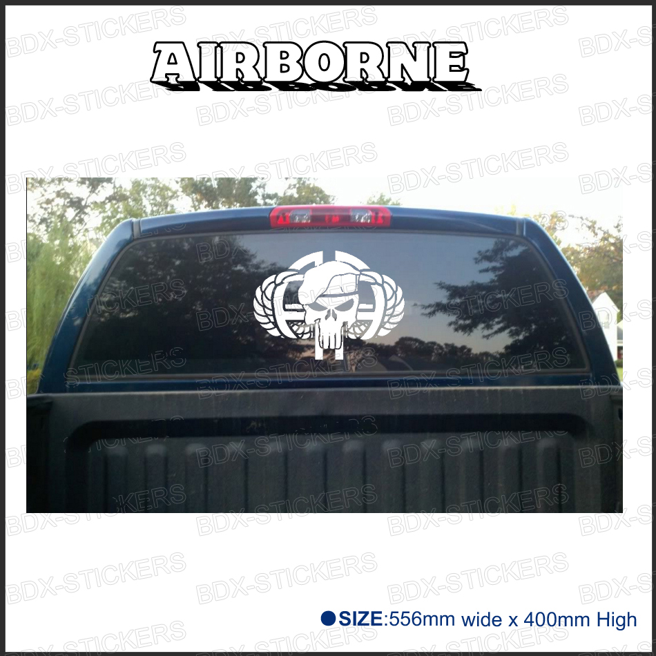 1pc Airborne Punisher For Truck Rear Window Or Badges Detailing Decals Car Scratch Protect Modified Accessories Stickers