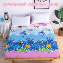 Funda de colchón resistente al agua de 120x200cm para colchón con estampado de peces para niños cubierta