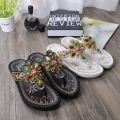 Korean style bohemian national wind handmade embroidered beaded flat sand beach leisure Waichuan herringbone sandals