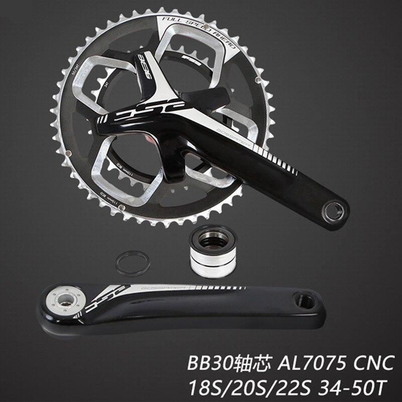 S59 manivelle de vélo et roue à chaîne 34-50 T BB30 noyau d'arbre CNC frein à disque creux vélo de route pignon longueur de manivelle 170/172. 5/175mm