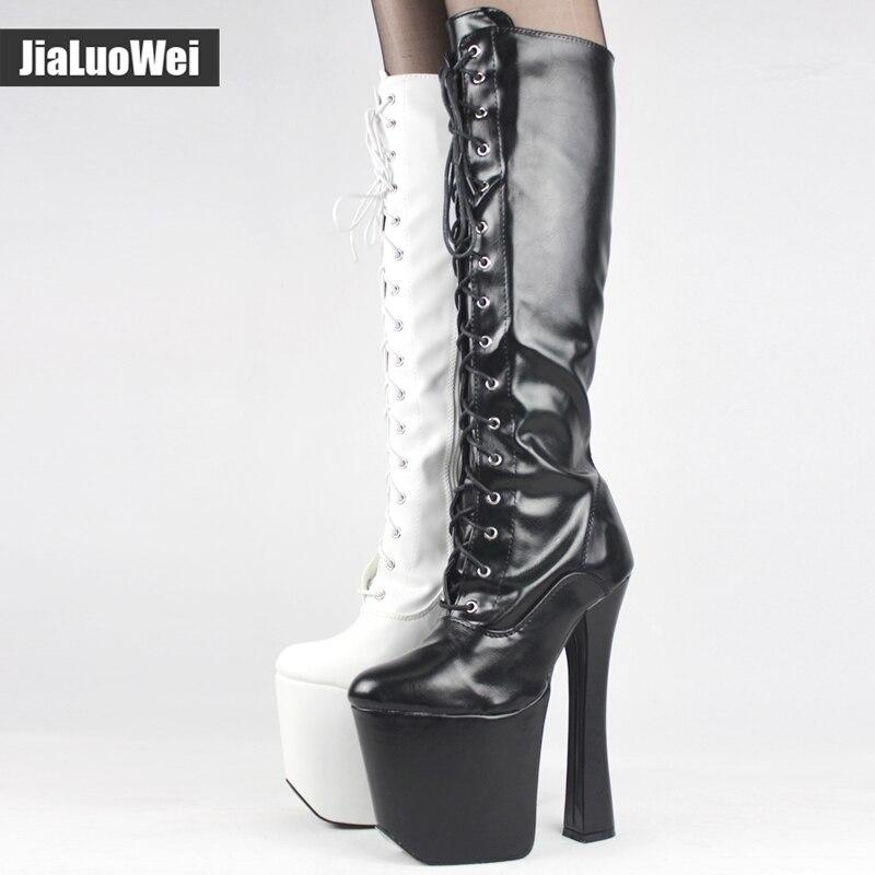 Здесь можно купить   Unisex Mid-Calf 20cm Super High Heel + 9cm Platform Boots Women Sexy Fetish Stilettos Cross-tied Patent Leather knee-high boots  Обувь