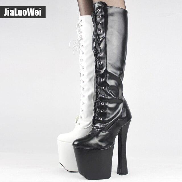 Unisex Mid Calf 20cm Super High Heel   9cm Platform Boots Women ...