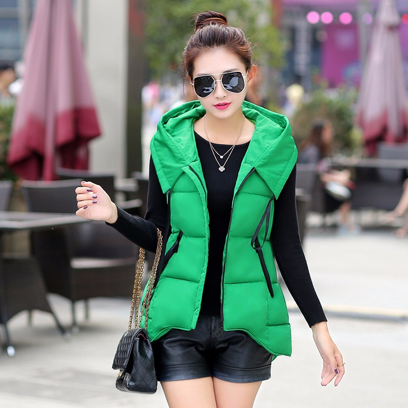 Winter Women Vest 2016 Hooded Down Cotton Warm Short Front Long Back Waistcoat Sleeveless Jacket Coat For Female