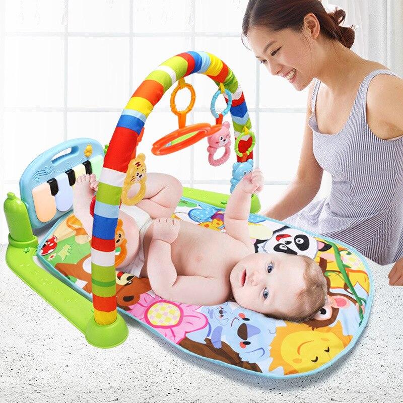 Tapis d'activité rampant tapis de jeu éducatif bébé enfants Fitness Rack Piano clavier avec couverture Animal mignon hochets jouets bébé Gym