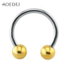 AOEDEJ Twee Kleuren Septum Piercing Real 14g Rvs Neus Septum Ring Sieraden Labret Lip Piercing Oor Kraakbeen Morne ring(China)
