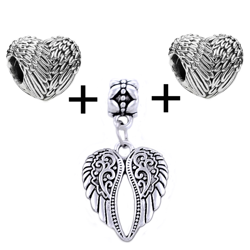 KINGS FAITH Silver Color Angelic Feathers Wings Beads And Pendant Fit Pandora Charms Bead Bracelets DIY Jewelry,SPP120