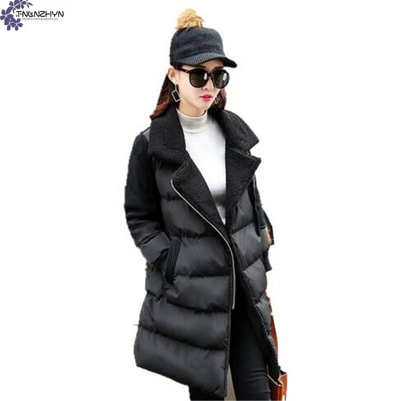 TNLNZHYN 2017 New Winter Fashion lapel Women s clothing Cotton Coat Thicken Warm Large size Long
