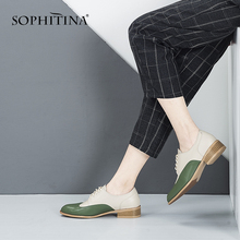 SOPHITINA Casual Women Brogue Shoes Quality Genuine Leather Fashion Mixed Colors Lace-up Ladies Elegant cozy Flats PO104