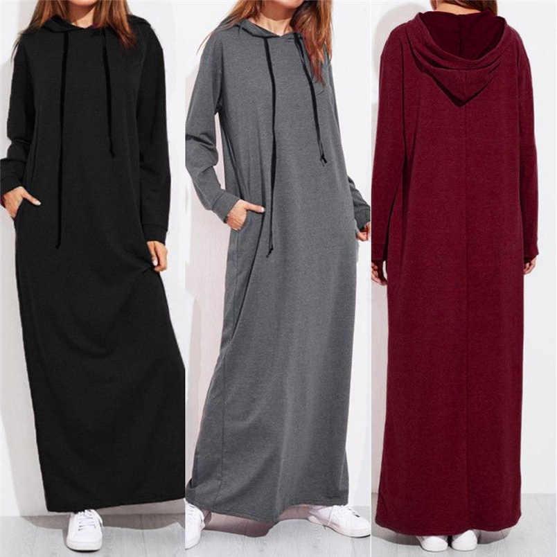 838e5c97ba4 Новое Женское зимнее платье Платье макси с длинным рукавом с капюшоном  женские повседневные толстовки Длинные платья