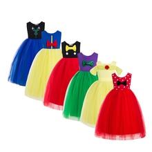 Платье для девочек; рождественские платья; костюм Рапунцель; Детские платья для девочек; летняя юбка-пачка принцессы; Белль; Минни; чудесная Божья коровка