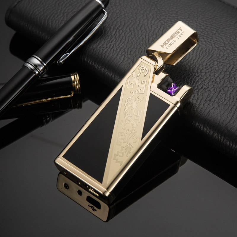 New Plasma lighters USB Charging Wind Proof Personality Metal Men Women Creative Gifts Golden Silver Lighters