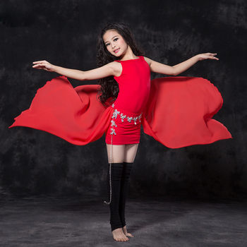 2018 New Girls Belly Dance Costume Modal Chiffon Fabric Tops+Skirt 2 Pieces/ Set For Children Indian Dance Practice Clothes