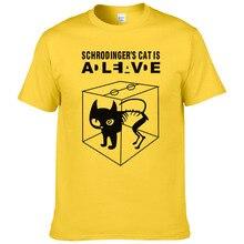 Летняя Хлопковая мужская футболка с коротким рукавом и принтом кота шродингера, повседневные мужские футболки с теорией Большого Взрыва#247