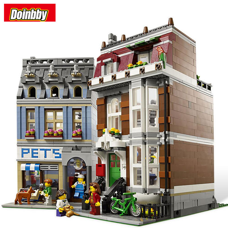 Lepin 15009 City Street Pet Shop City Series Model Building Block Bricks Toys Children Gifts Compatible 10218 compatible lepin city block police dog unit 60045 building bricks bela 10419 policeman toys for children 011