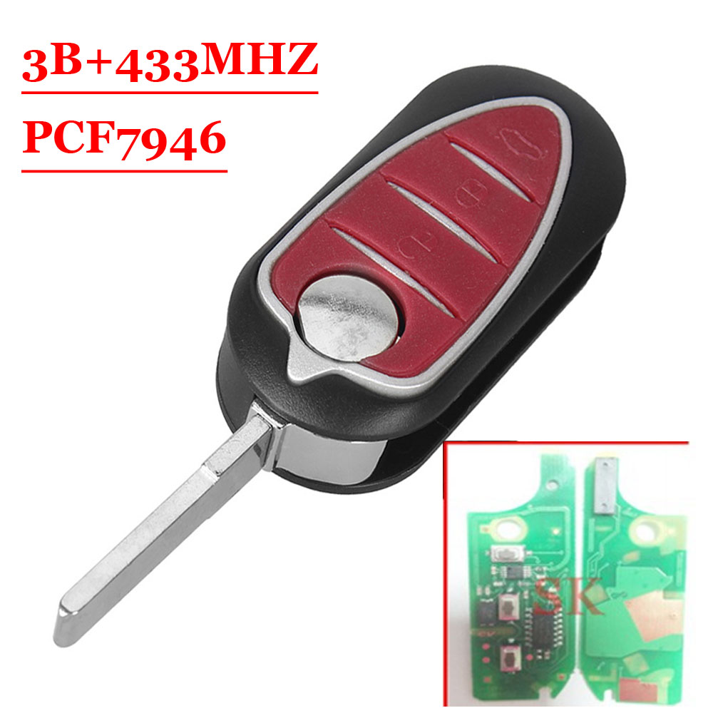 Free shipping(1 piece)Folding Remote Key Fob 433MHz PCF7947 3 Button for Alfa Romeo 147 156 166 GT 6x car snow tire anti skid chains for lexus rx nx gs ct200h gs300 rx350 rx300 for alfa romeo 159 147 156 166 gt mito accessories