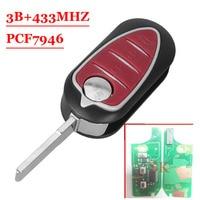 Frete grátis (1 peça) Fob 433 MHz PCF7947 3 Botão Dobrar Chave Remota para Alfa Romeo 147 156 166 GT