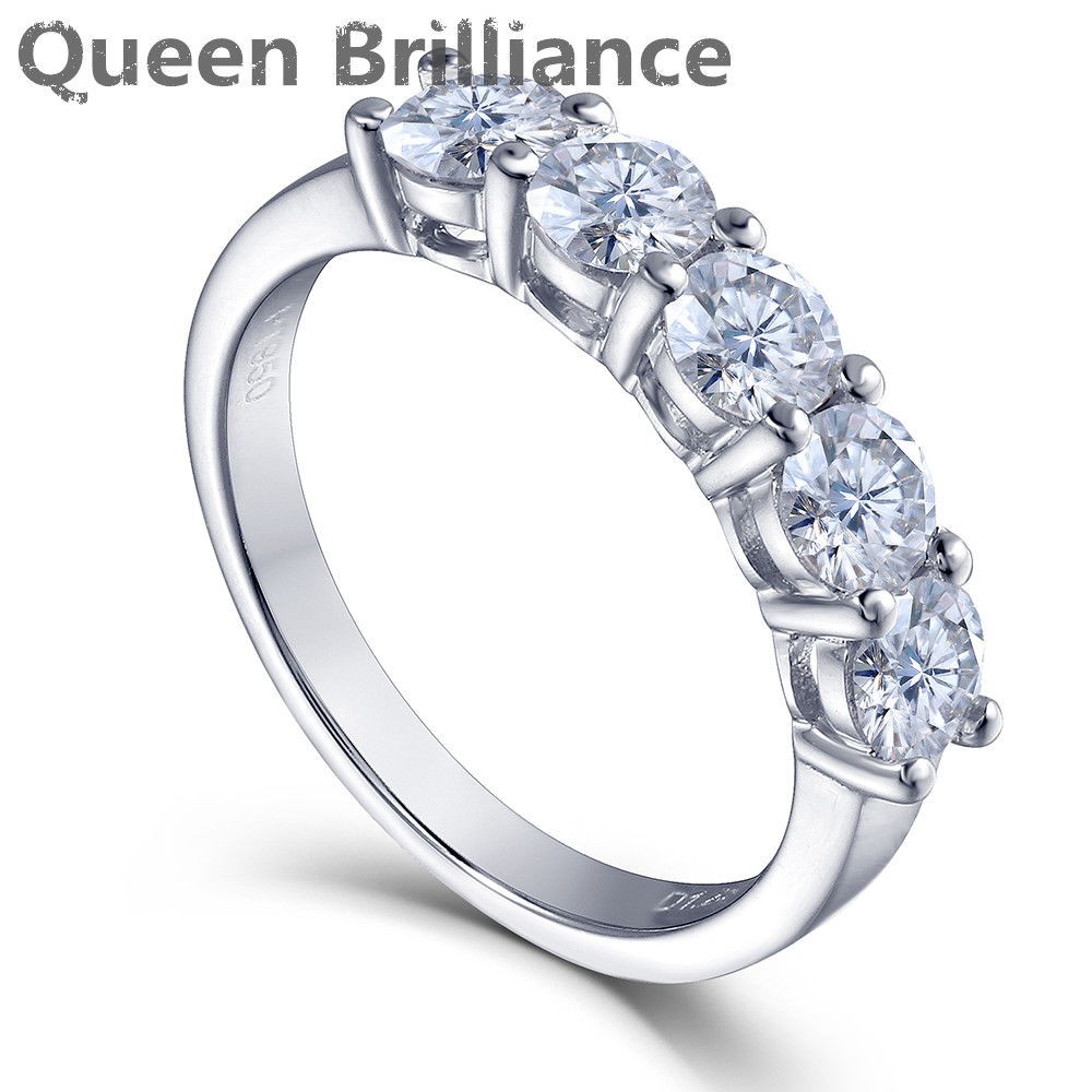 Queen Brilliance 1.25ctw H Color Lab Grown Moissanite Diamond Half Eternity Anniversary Wedding Band Ring 925 Sterling Silver