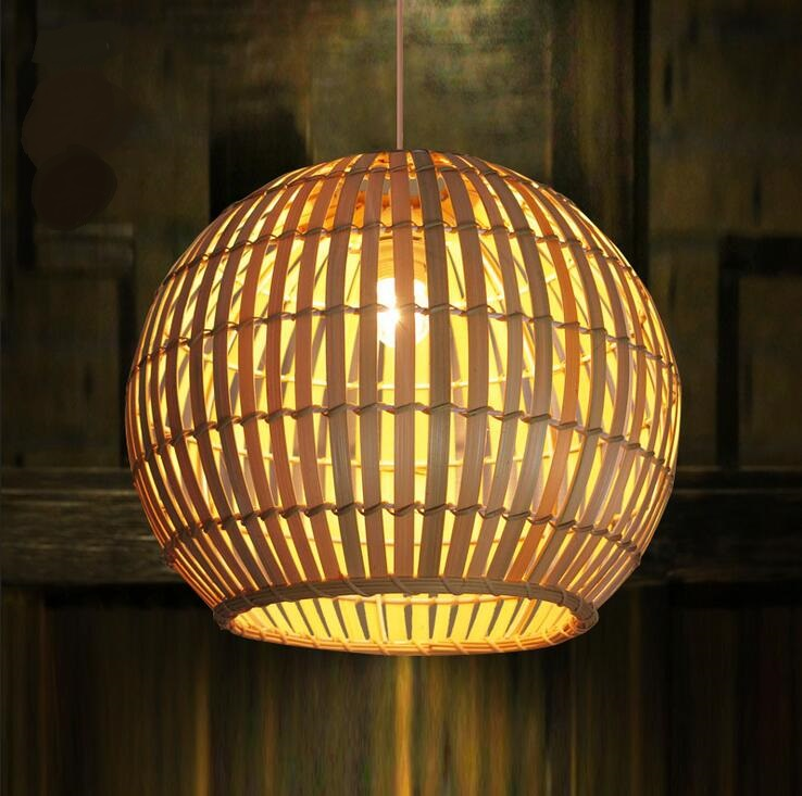 Bamboo cages pendant lights creative hand-made living room dining room simple coffee shop clothing store decorative lamps ZA creative iron triangle pendant lights personality bar living room bedroom clothing store lighting pendant lamps za fg328