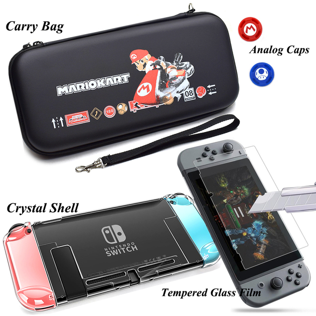 Nintend Switch Accessories Carry Bag + Tempered Glass Film + PC Shell Case+ Joy-con Analog Caps for Nitendo Switch Game Console 3
