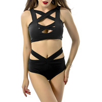 Minimalism Le Sexy Bandage High Neck Halter Bikini 2017 New Swimwear Women Swimsuit Push Up Brazilian