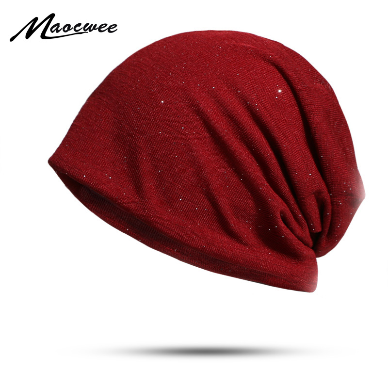 Fashion Women   Skullies     Beanies   Hats Solid Color Spring And Autumn Hat Female Ladies   Beanie   Soft Warm Cotton Hats Brilliant Cap