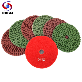 RIJILEI 7Pcs/Set Diamond Polishing Pad 4 Inch Diamond Sanding Disk For Granite Marble 100mm Wet Polishing Pad for Stone WPD11 rijilei 7pcs set 5inch white diamond polishing pad 125mm wet polishing pads for stone concrete floor polishing tool hc15