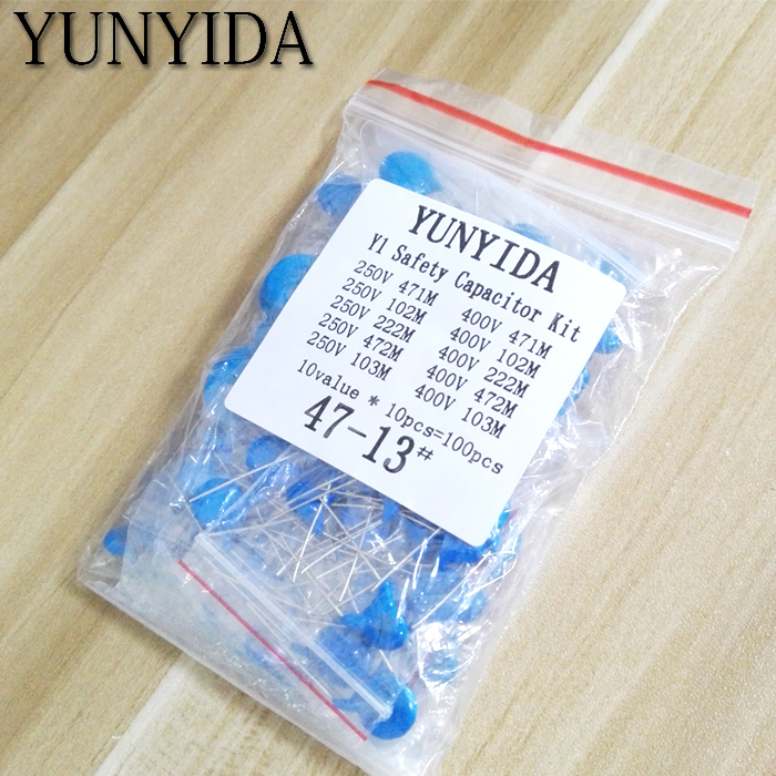 DIY KIT 100pcs=10value*10pcs  Safety Y Capacitor  KIT 400VAC  250VAC   471  102   222M   472M 103M  EACH  10PCS
