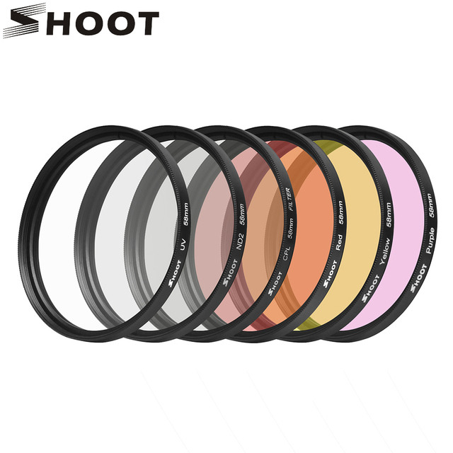 SHOOT 6 in 1 58mm Filters for GoPro Hero 7 6 5 Black Waterproof Case Diving UV CPL Red Purple Filter for Go Pro 7 Accessory Set