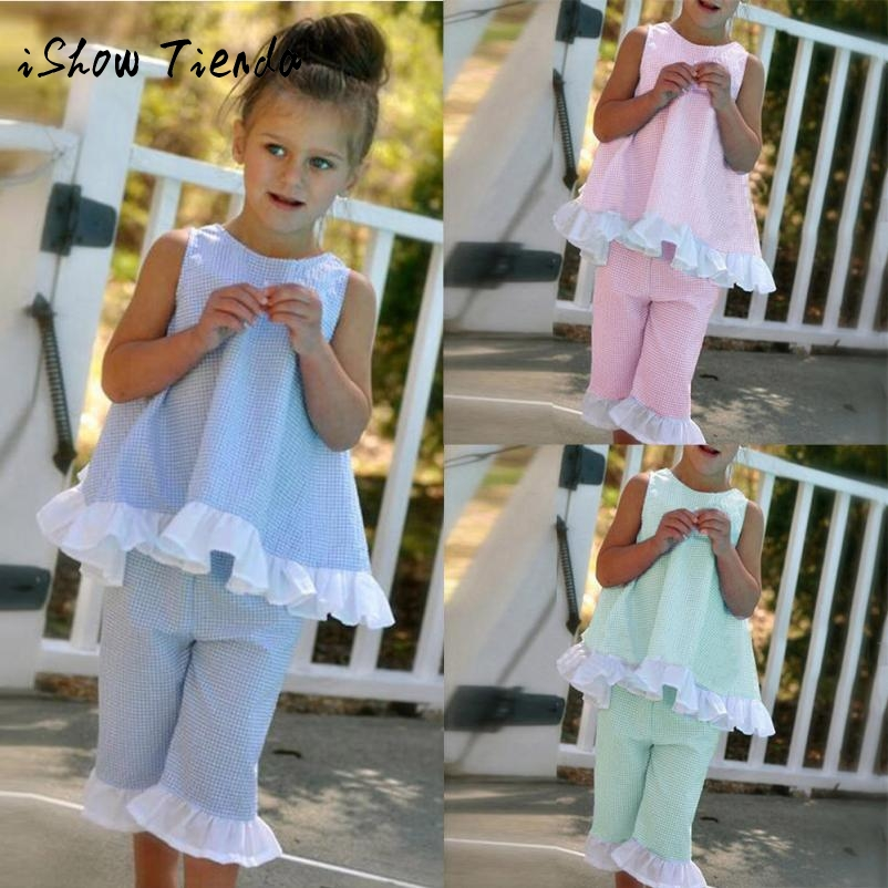 2018 summer cotton Children Sets girl clothing set Plaid Bow sleeveless T-shirt Tops+Pant outfits Kids Summer suit for 1-7 years