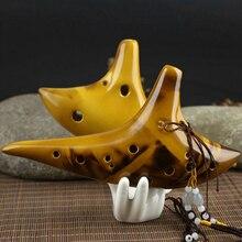 2016 Yellow 12-Hole Legend Zelda Ocarina of Time Alto C Smoldering Ceramic Flute Ocarina New Friend Gift