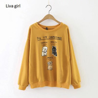 Fashion Cool Spring Autumn Casual Women Sweatshirt Cute Cartoon Dog Letters Prints Pullover Long Sleeve Tracksuit