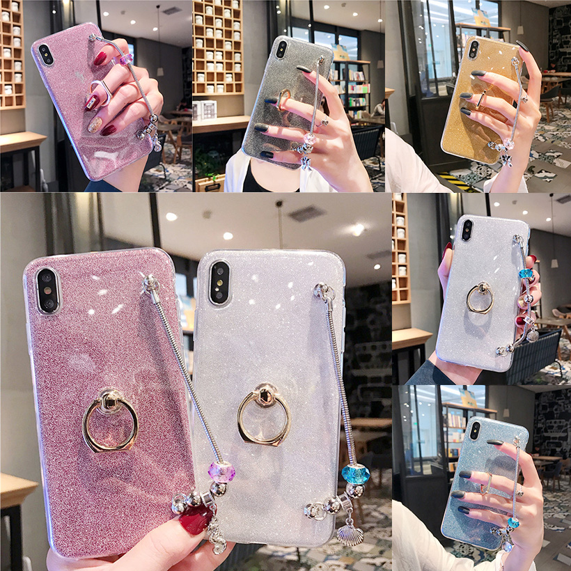 Glitter Ring Cases For <font><b>Samsung</b></font> Galaxy A10 <font><b>A30</b></font> A40S A40 A50 A60 A70 A8S A9s A6S A2 Core A20E A80 A90 Bling Bracelet Covers Bumper image