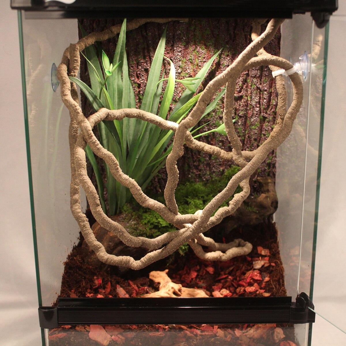 Terrarium Reptil Flexible Dschungel Vines 2 mt Flexible Biegsamen Haustier Eidechsen Spinnen Climber Lebensraum Vivarium Dekoration Zubehör
