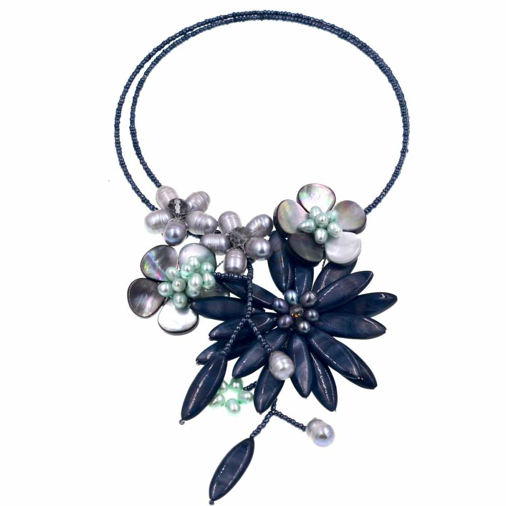 Europe Chic Fashion Black Sea shell with freshwater pearl beaded wrap necklace For Women Jewelry HOT
