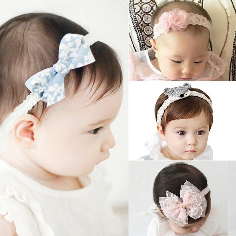 4 Kind Girls Flower Knot Headband Toddler Baby Girls Felt Flower Headbands Babies Pink Lace Bow Hairband